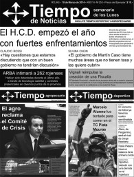 Tapa del semanario Tiempo de Noticias