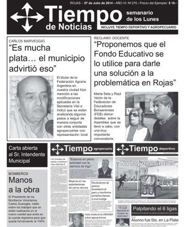 Tapas del semanario Tiempo de Noticias 7 de julio