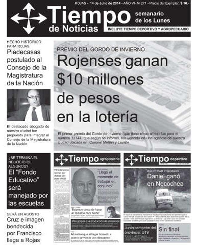 Tapas semanario Tiempo de Noticias 14 de Julio