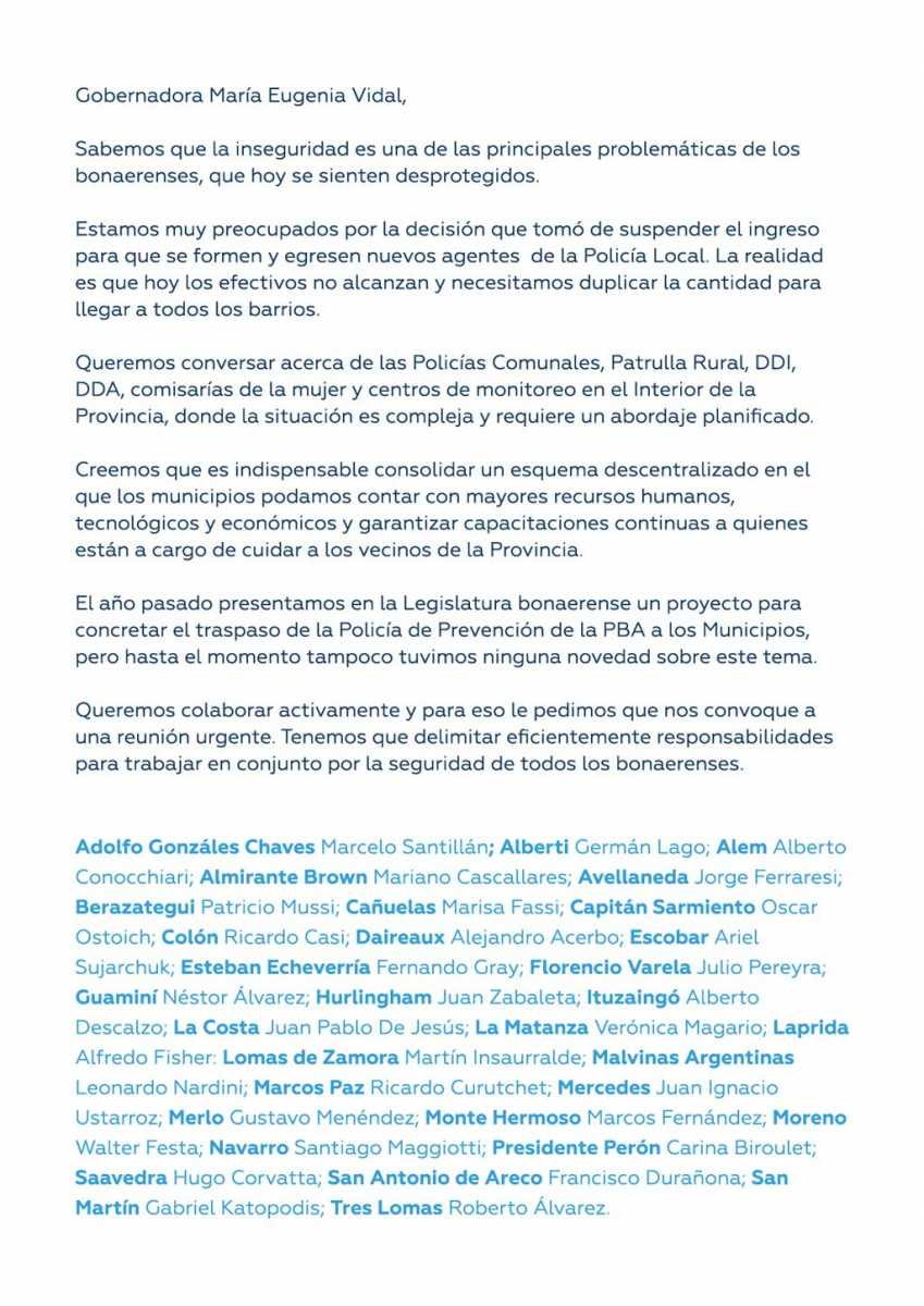 Intendentes peronistas piden a Vidal para tratar en conjunto la problemática de la inseguridad