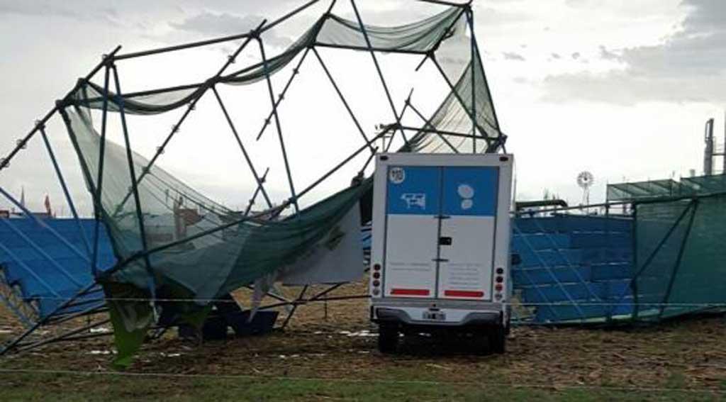 La tormenta en San Nicolás provocó roturas y destrozos en Expoagro