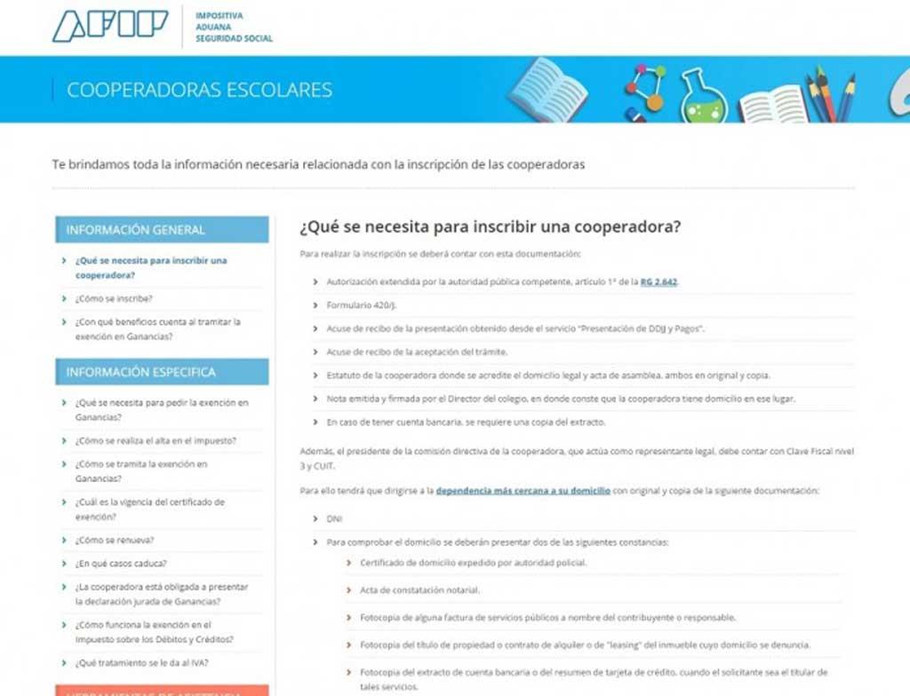 Crean un micrositio en la página de la AFIP para facilitar trámites a las cooperadoras escolares