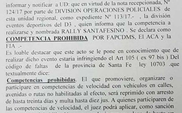Rally Santafesino: la situación tras la suspensión de Fuentes
