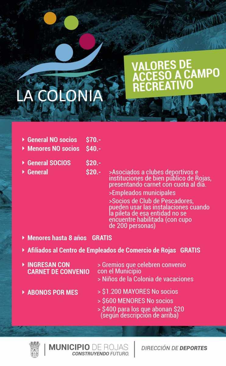 Valores de acceso al Campo Recreativo La Colonia-Cecir