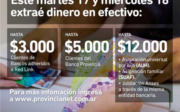 Martes y miércoles se podrá retirar efectivo en Provincia NET Pagos