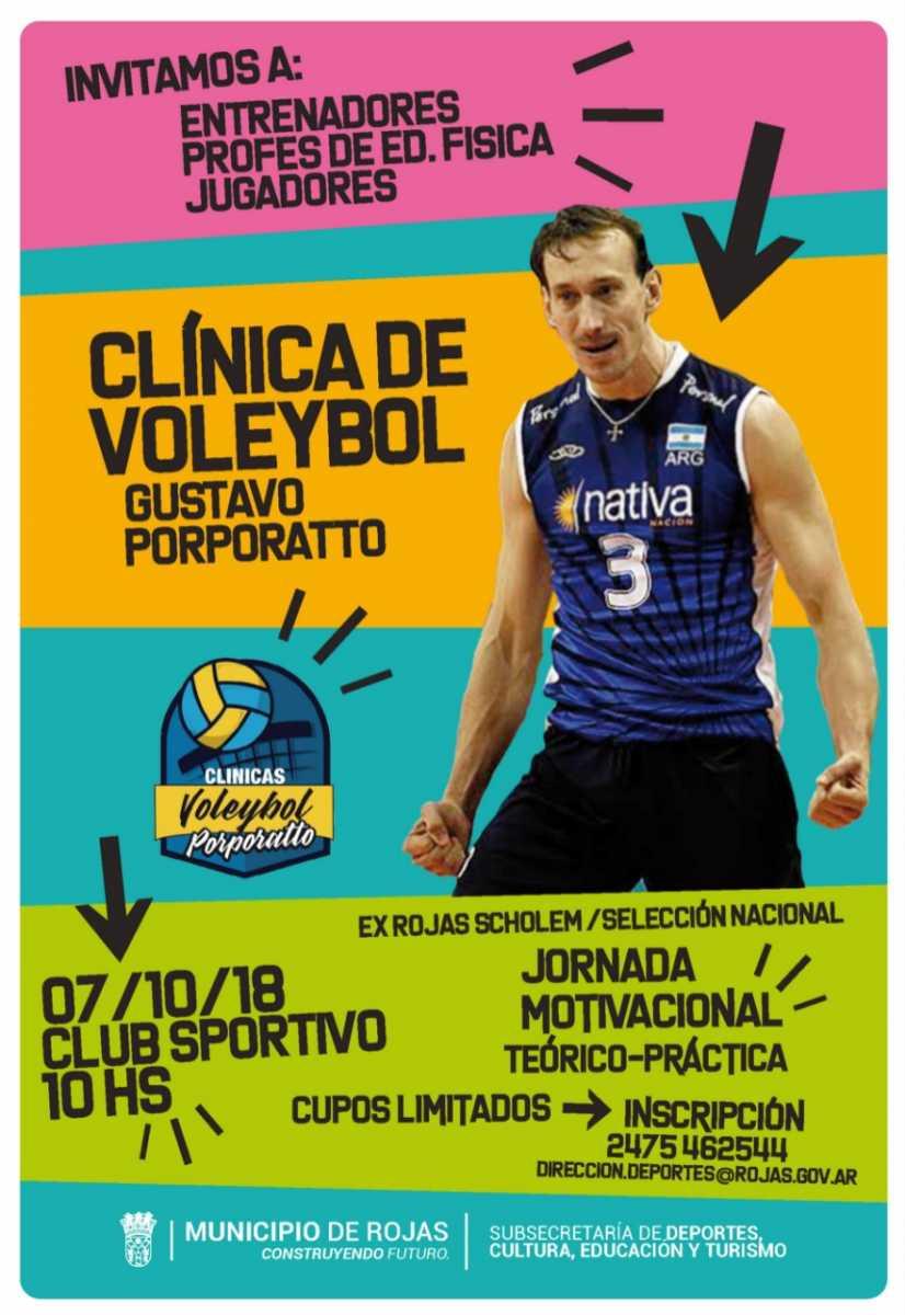 Este domingo Gustavo Porporatto dictará una clínica de voleibol