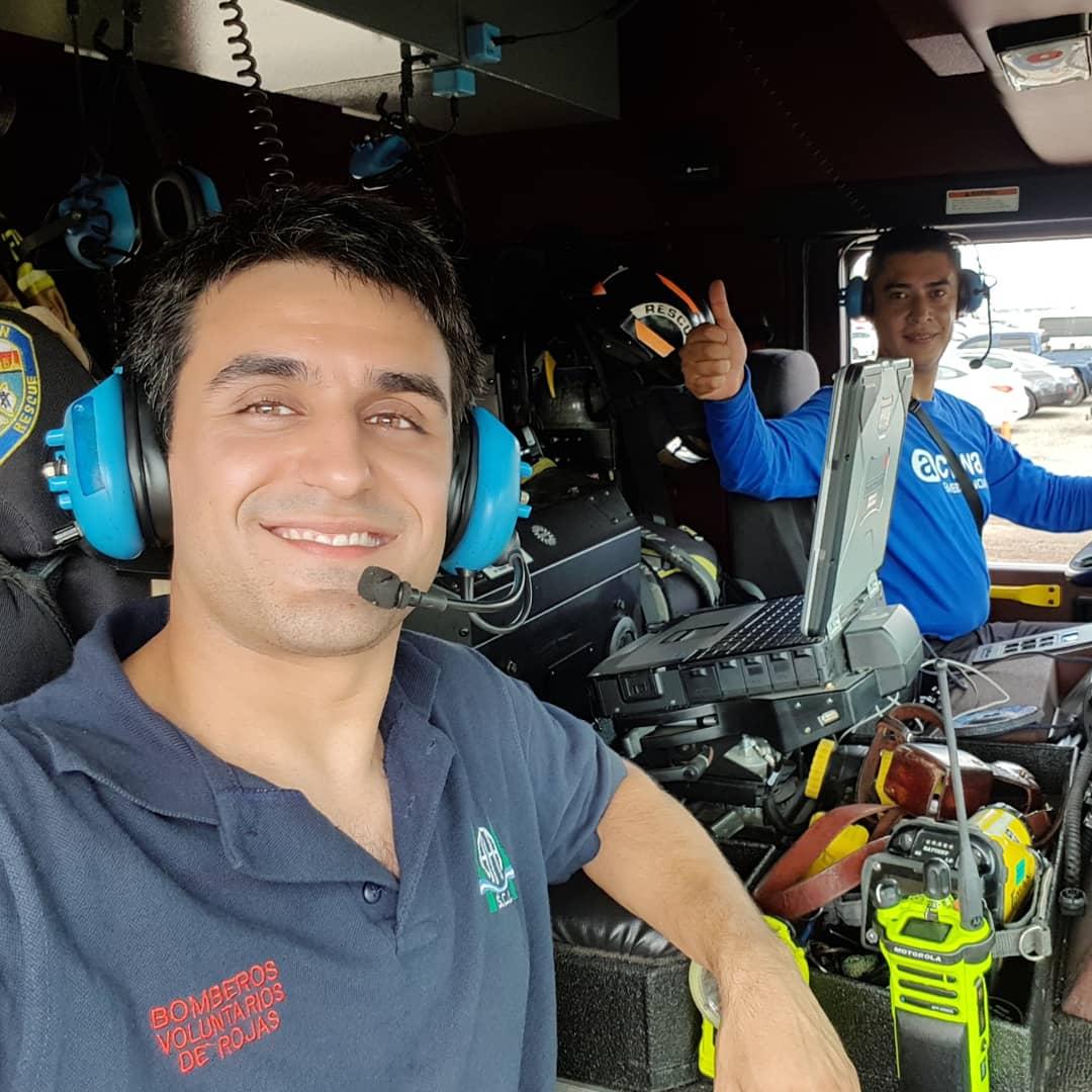 Juan Pablo Rivolta realizó una capacitación, en Estados Unidos, sobre combate de incendios