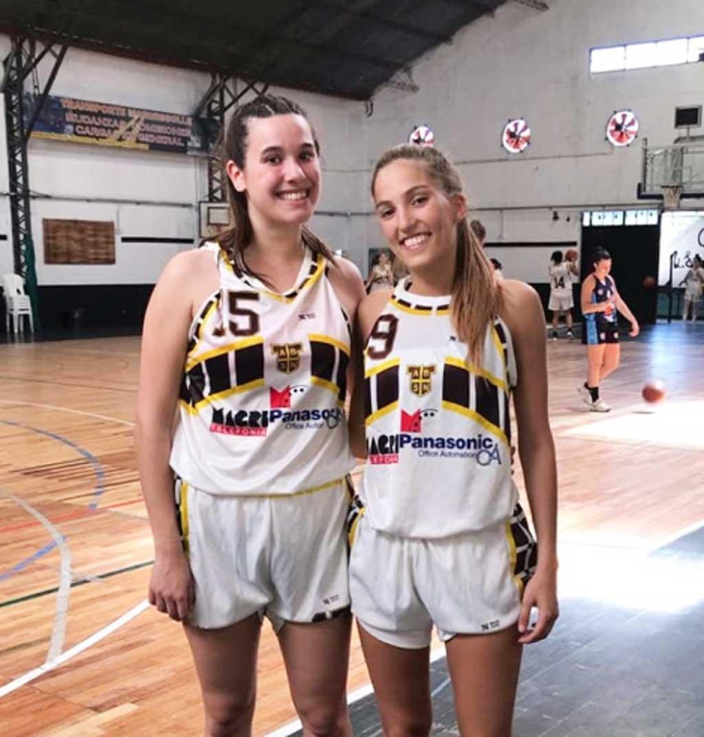 Abril Chiavarino y Paloma Chevillard participaron del provincial de mayores de básquet