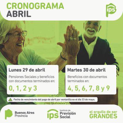 Desde el lunes 29 los jubilados y pensionados del ips cobran haberes de abril