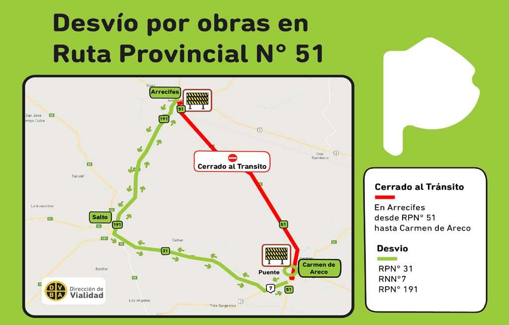 Ruta 51: cerrada al tránsito entre Arrecifes y Carmen de Areco